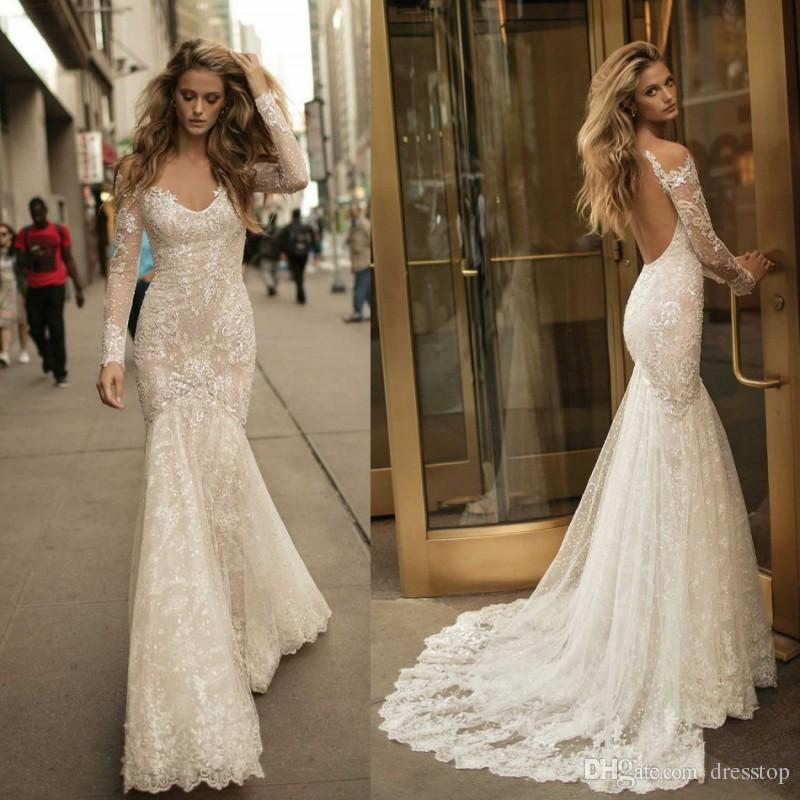 Berta Backless Mermaid Wedding Dresses With Long Sleeves V-Neck Lace Appliqued Trumpet Bridal Gowns Sweep Train Country Wedding Dress