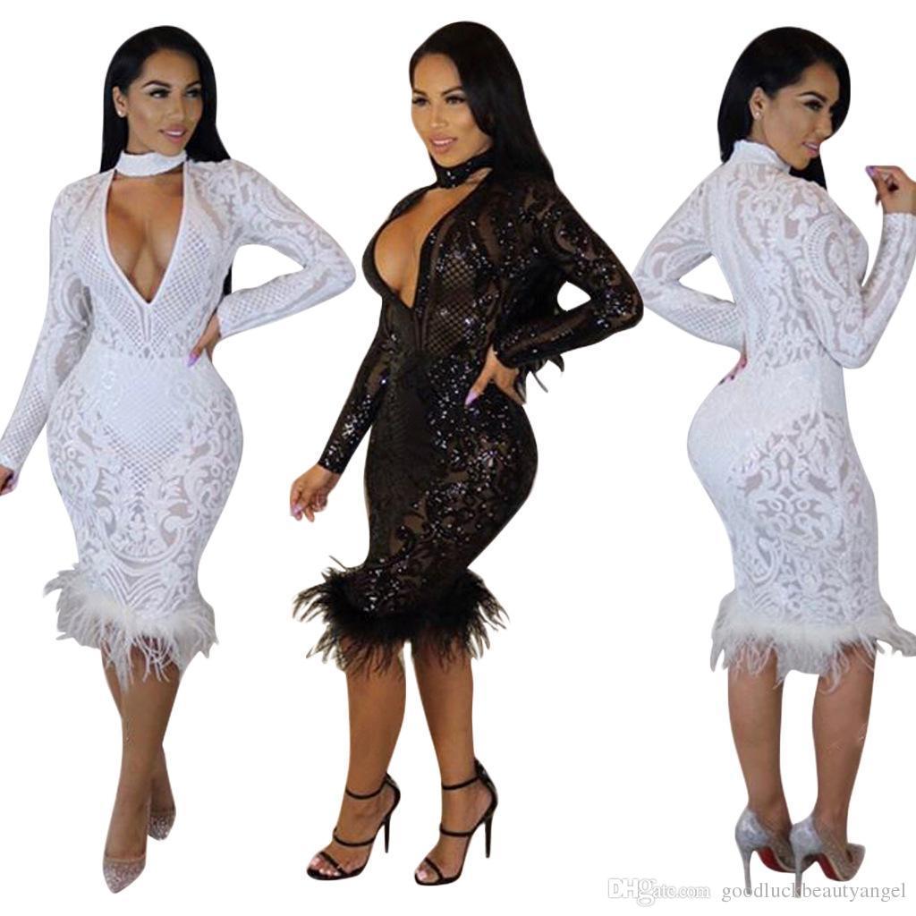 cd8f92c4a12b4 Satın Al Seksi Yeni Sequins Tül V Boyun Dekolte Uzun Kollu Bodycon Elbise  Artı Boyutu Kadın Ilkbahar Sonbahar Kış Avrupa Moda Parti Gece Kulübü Elbise,  ...
