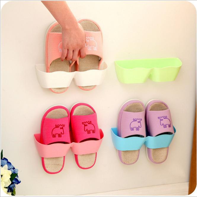 Étagère à chaussures en plastique auto-adhésif salon salle de bains Tenture murale chaussure pantoufle stockage organisateur de support