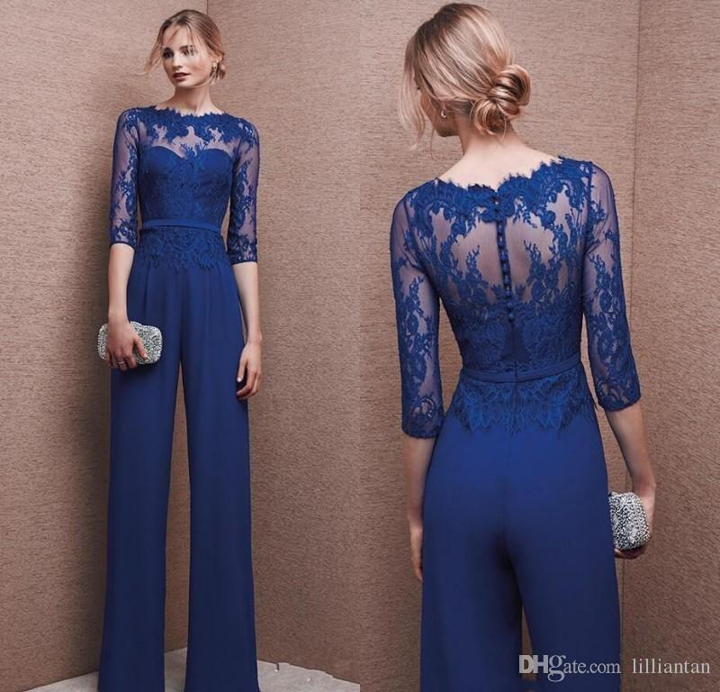 Blue Lace Chiffon Mother Pant Suits Lace Lady Jumpsuit Evening Dresses 3/4 Long Sleeve Mother of the Bride Formal Evening Party Dresses