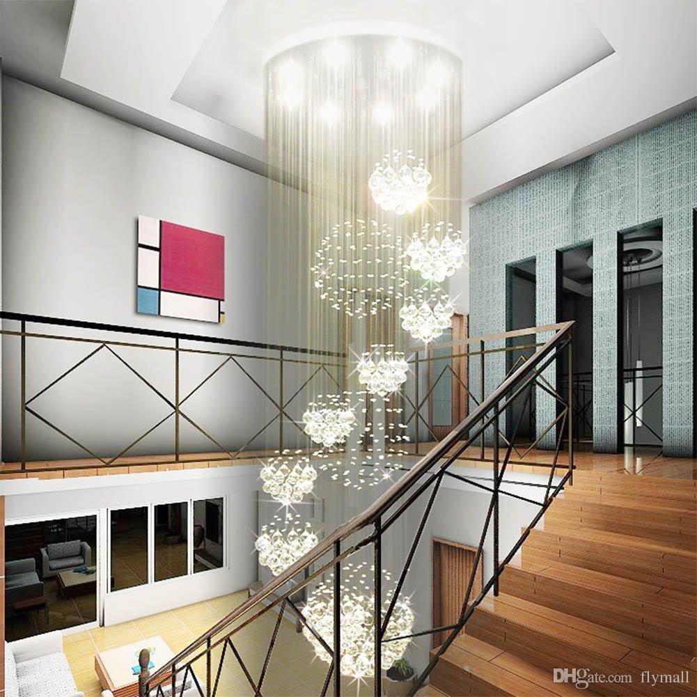 Lámpara de araña moderna Lámpara de cristal grande para el vestíbulo Escaleras Escaleras Foyer Lámpara de techo de espiral largo Lustre Luminaria empotrada en la escalera