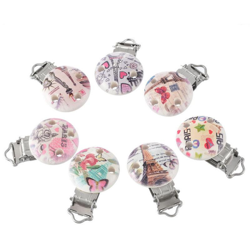 5pcs Metal Baby Pacifier Clips Cute Monkey Pattern Wood Beads Cute Infant Soother Clasps Holders Accessories Diy Jewelry Findings & Components