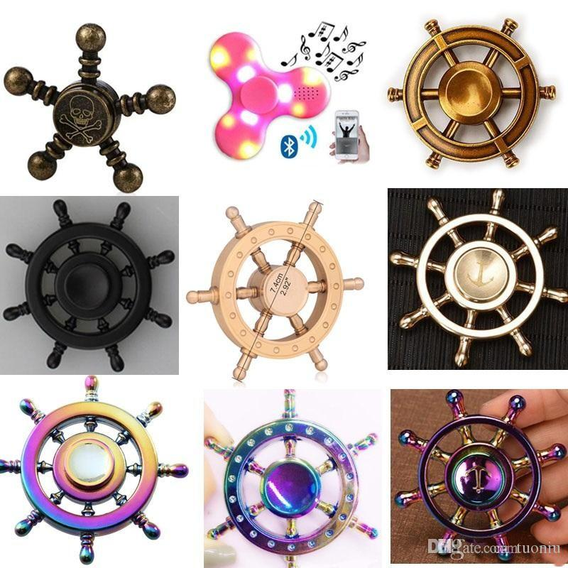 DIY Pirate Rudder Brass Hand Spinner Tri Fidget Led bluetooth Finger Focus EDC ADHD Autism spinning Top Finger spinners Gyro Anxiety Toys