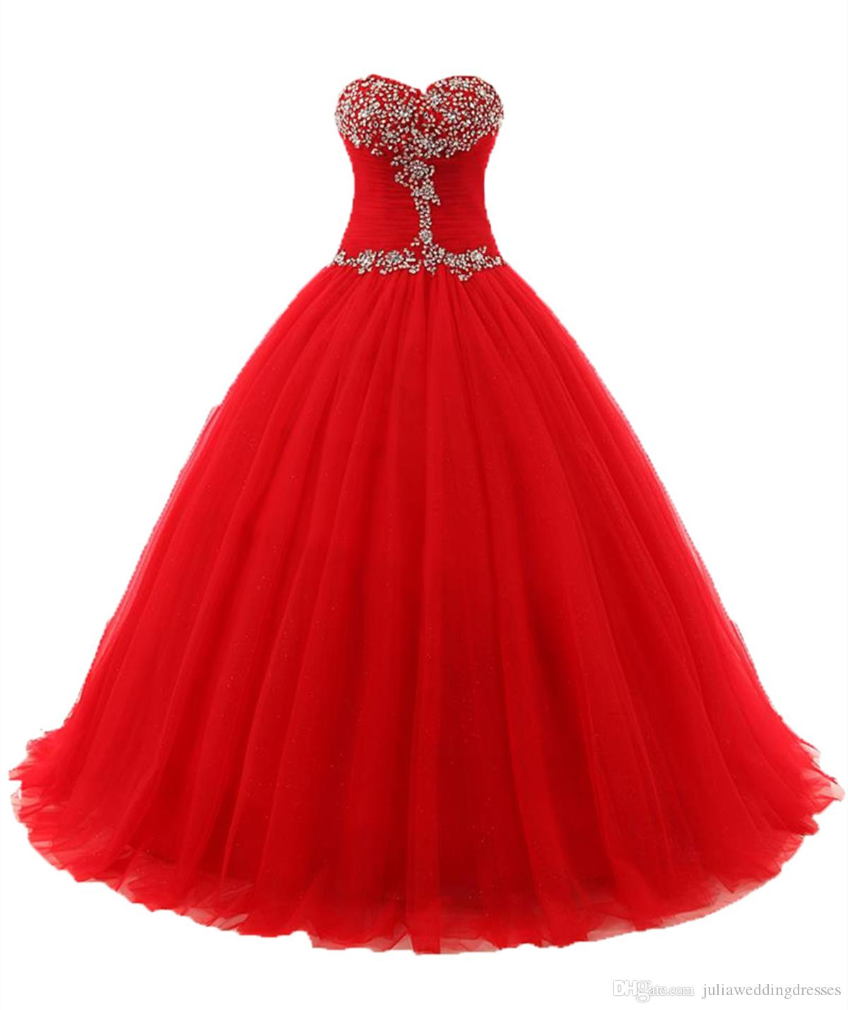 2018 Sexy Red Sweetheart Ball Gown Quinceanera Dresses with Beaded Sweet 16 Dress Lace Up Floor Length Detachable vestido para debutanQC115