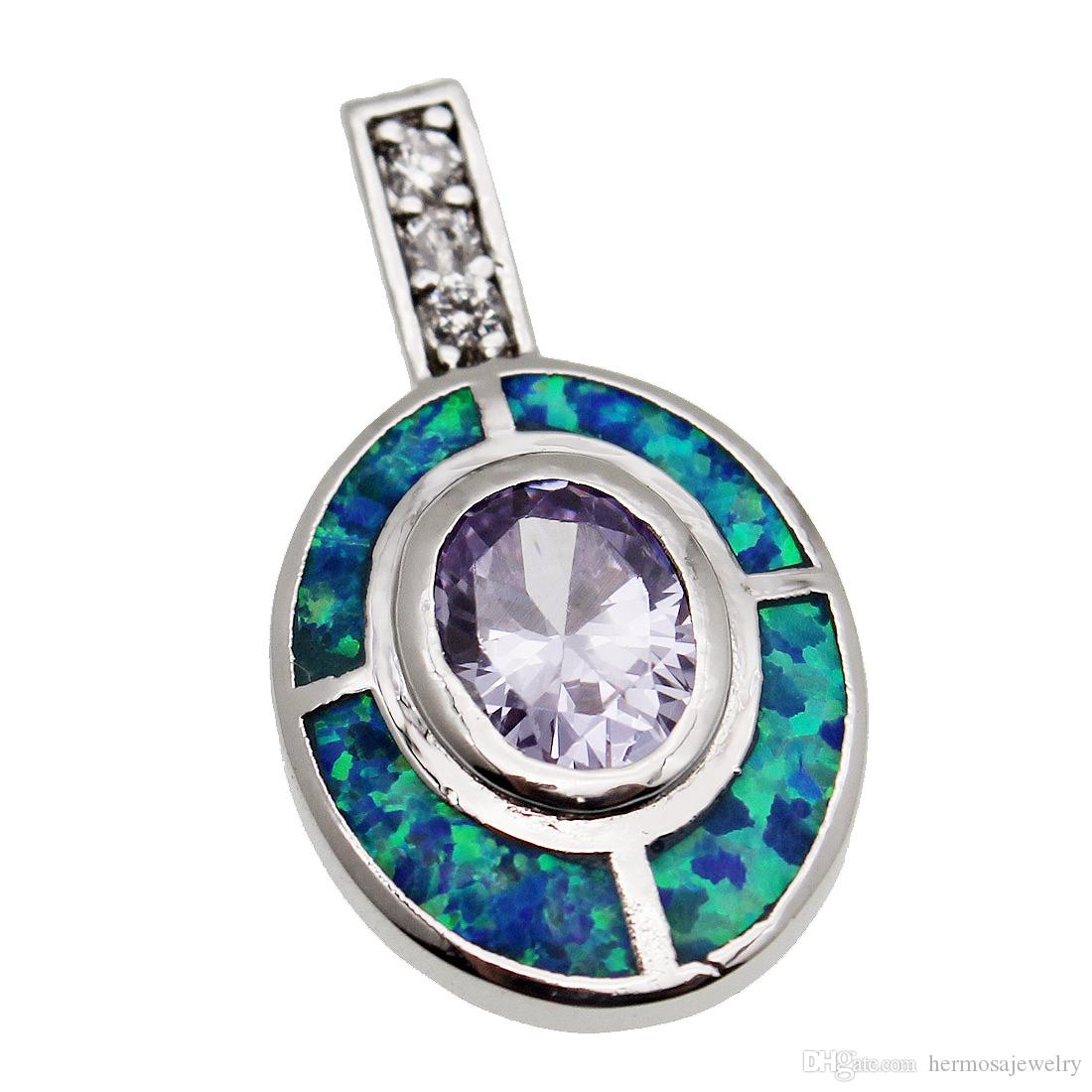 925 Sterling Silver Pendants Natural Light Purple Amethyst Genuine Unique Blue Opal Handmade Solitaire Female Jewelry