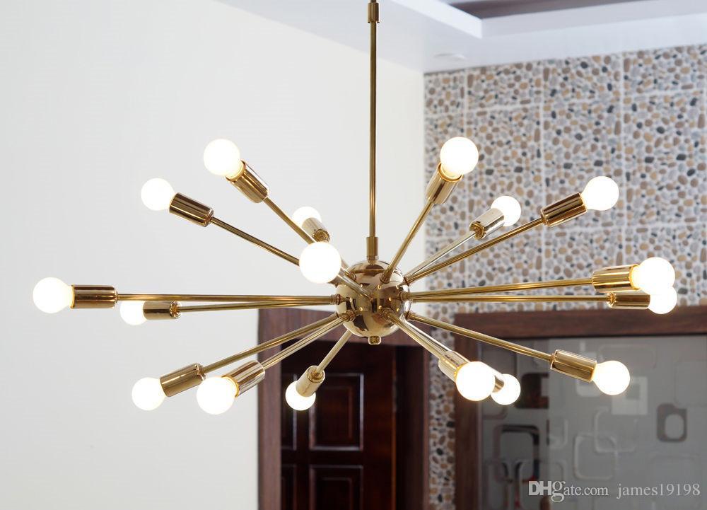 Großhandel Neue Moderne Detail Klassische Mitte Jahrhundert Moderne  Pendelleuchte Poliert Messing Sputnik Atom Kronleuchter Sterne Kostenloser  Versand Von ...