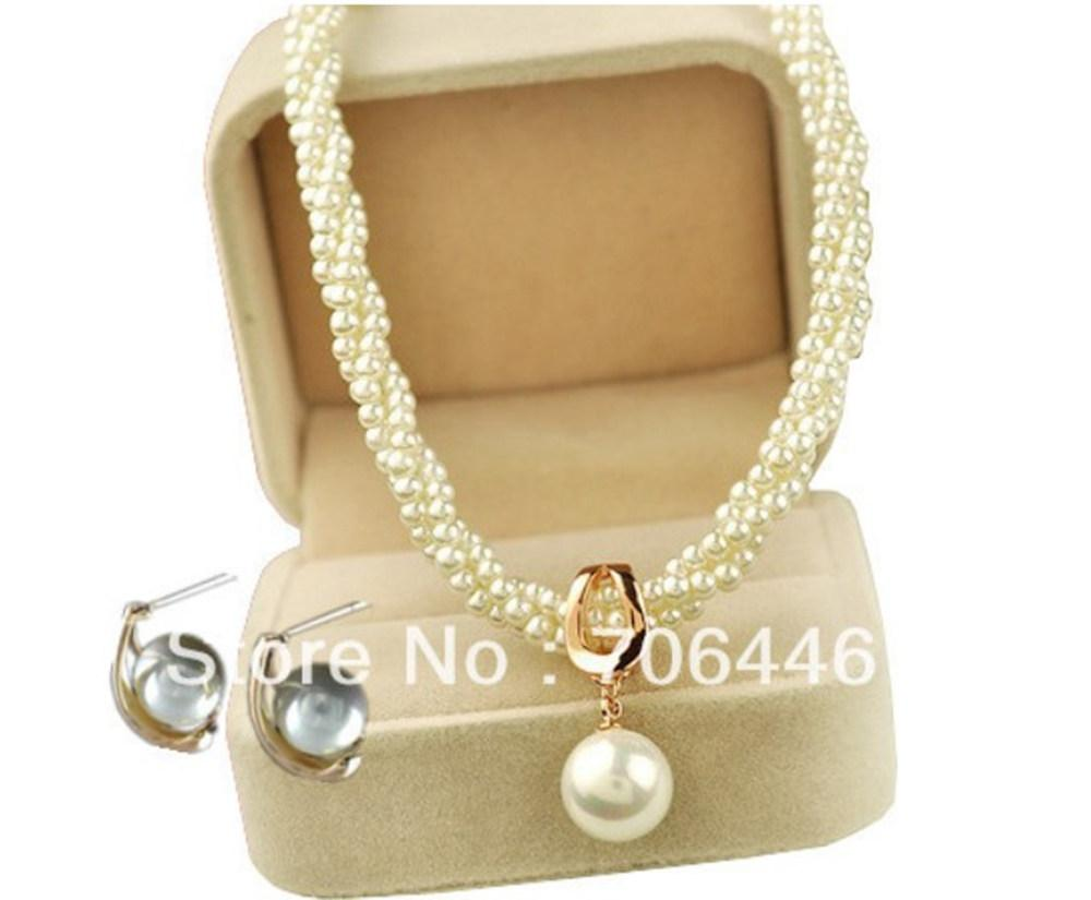 Belo banhado a ouro feito artesanal torcido creme pérola colar de jóias de jóias de nupcial colar de nupcial e brincos