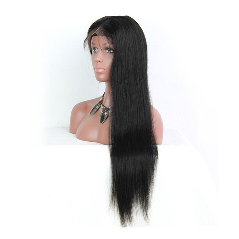 8A Pelucas brasileñas rectas llenas rectas del pelo humano del cordón para las mujeres negras Pelucas delanteras del cordón de Glueless con el pelo del bebé