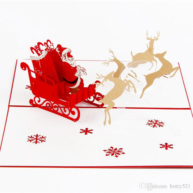 hot sale new handmade christmas cards creative kirigami origami 3d pop up greeting card with santa ride desgin postcards personalised greeting cards