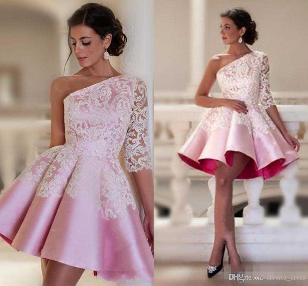 Baby Pink One-shoulder Homecoming Dresses Lace Half Sleeve Satin Ruched Short Party Dresses Custom Made Dubai Style Formal Prom Dress