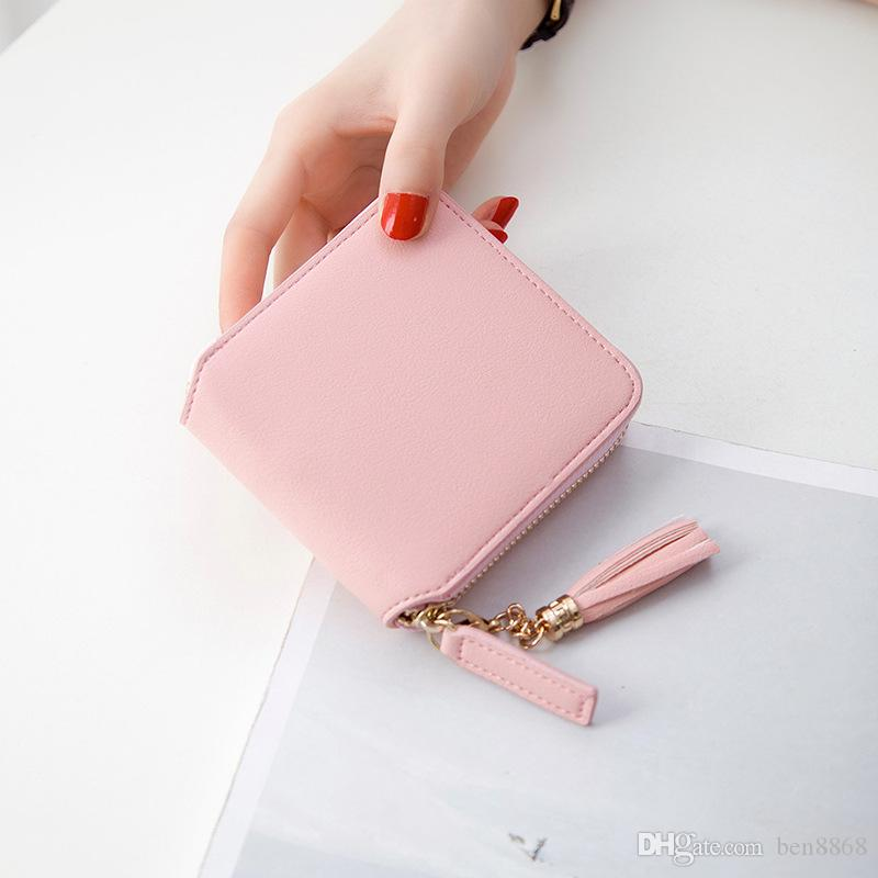 2017 Best Selling! Genuine Leather Women Short Wallet Zipper Purse Short Handbag For Girl Lady Nice Gift Money Bag
