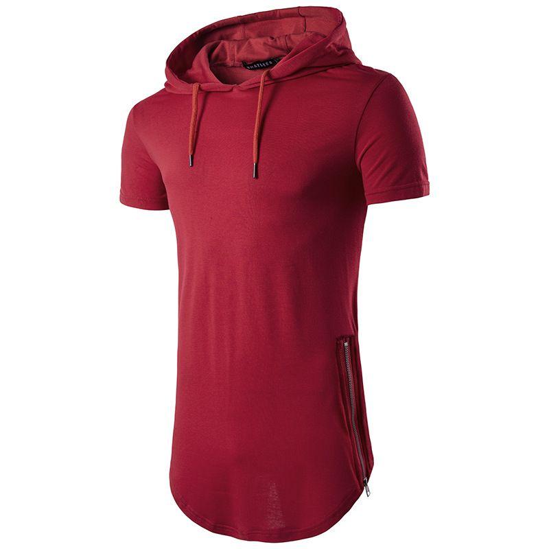 Tops tees venta caliente 2017 con capucha con cremallera larga del verano de los hombres camiseta de manga corta camiseta moda cuello redondo hombres camiseta ocasional