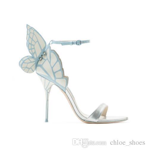 2017 Novos Sapatos Mulher de Volta Borboleta Sandálias Doce Chique de Salto Alto Designer Mujer Sandálias Lado Tornozelo Cinta Sexy Mulheres 'Sapatos Mais