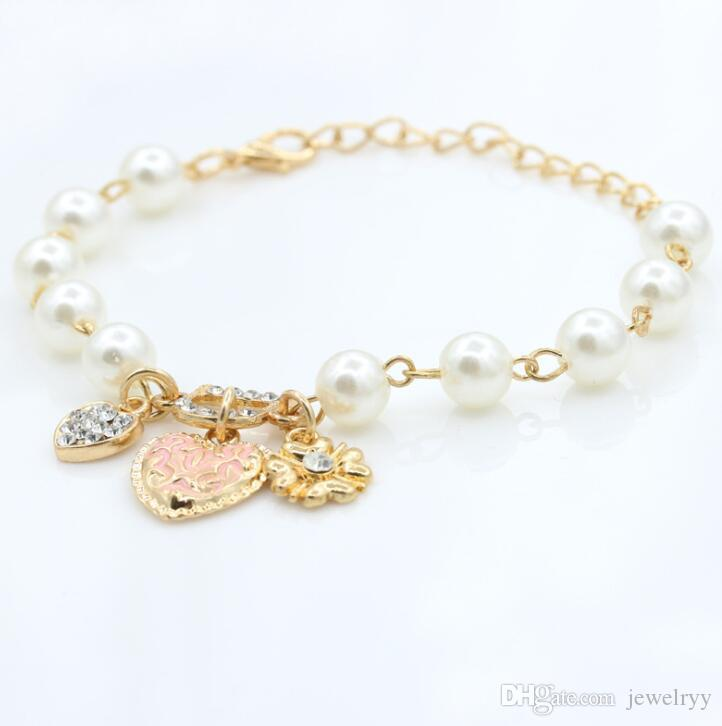Women Pearl Bracelet Crystal Love Heart Flower Bracelet Rhinestone Charm Bracelets Crystal Bangle Jewelry For wedding party Prom Evening