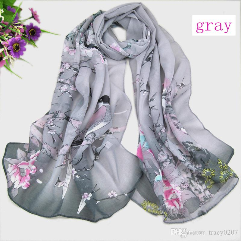 Women's Fashion Scarves Chinese style Satin Flower Oil Painting Long Wrap Shawl Beach Silk Scarf 160X50cm