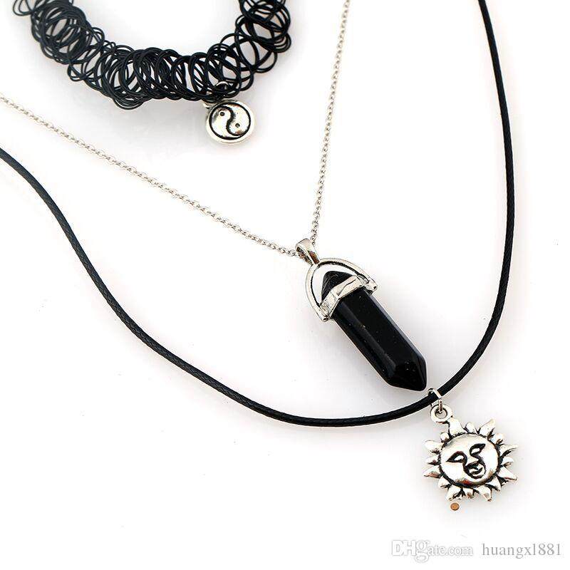 Europe and the United States fashion jewelry wholesale sun original stone Tai Chi fishing line triangle sets of necklace heat