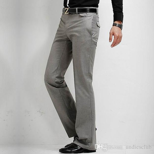 2019 New Men S Slim Fit Casual Formal Straight Dress Pants Smooth Trousers  Black Grey Size 28 33 From Undiesclub 03fe38eef1d7