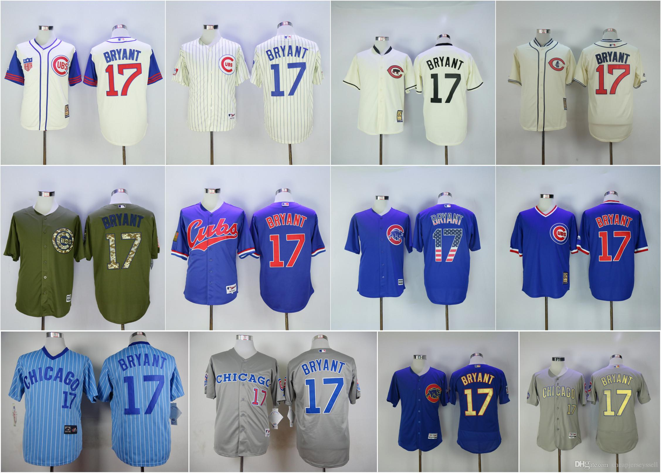 c3ea64d00e7 ... Authentic Collection MLB Jersey Mens 2017 17 Kris Bryant Jerseys MenS  Chicago Cubs Blue Usa Flag Cream 1942 1969 Blue 1994 ...