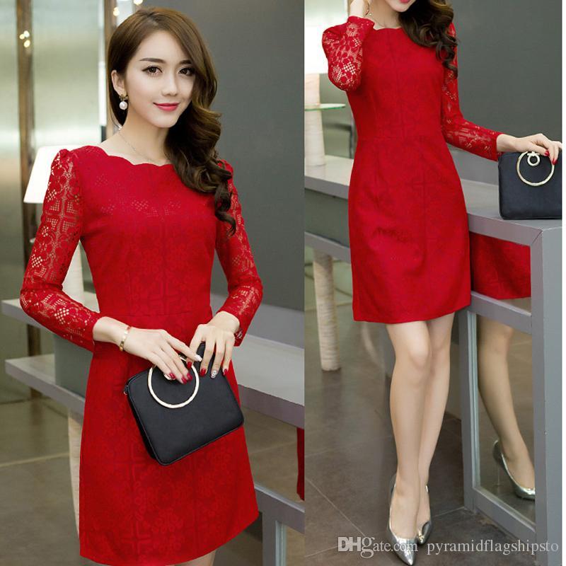 8c21a4636 Compre Vestido Elegante Rojo Blanco Negro Otoño Vestido De Las Mujeres De  Oficina De Encaje Bodycon Vestidos De Fiesta Tallas Grandes Vestido De Las  Mujeres ...