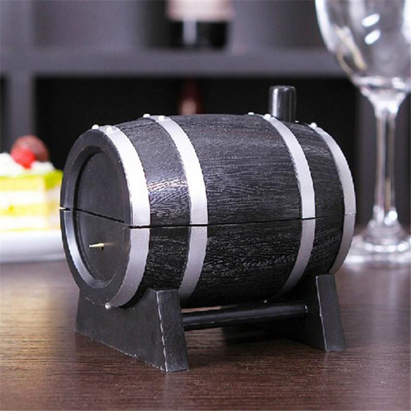 Wholesale- Wine Barrel Plastic Automatic Toothpick Box Toothpick Container Toothpick Dispenser IC872403