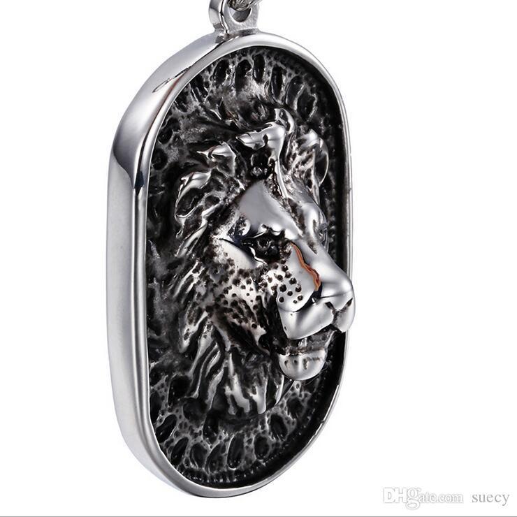 71 cm * 8mm black vidro bloco link corrente 316L lion de aço inoxidável colar w / preto rhinestones jóias mens