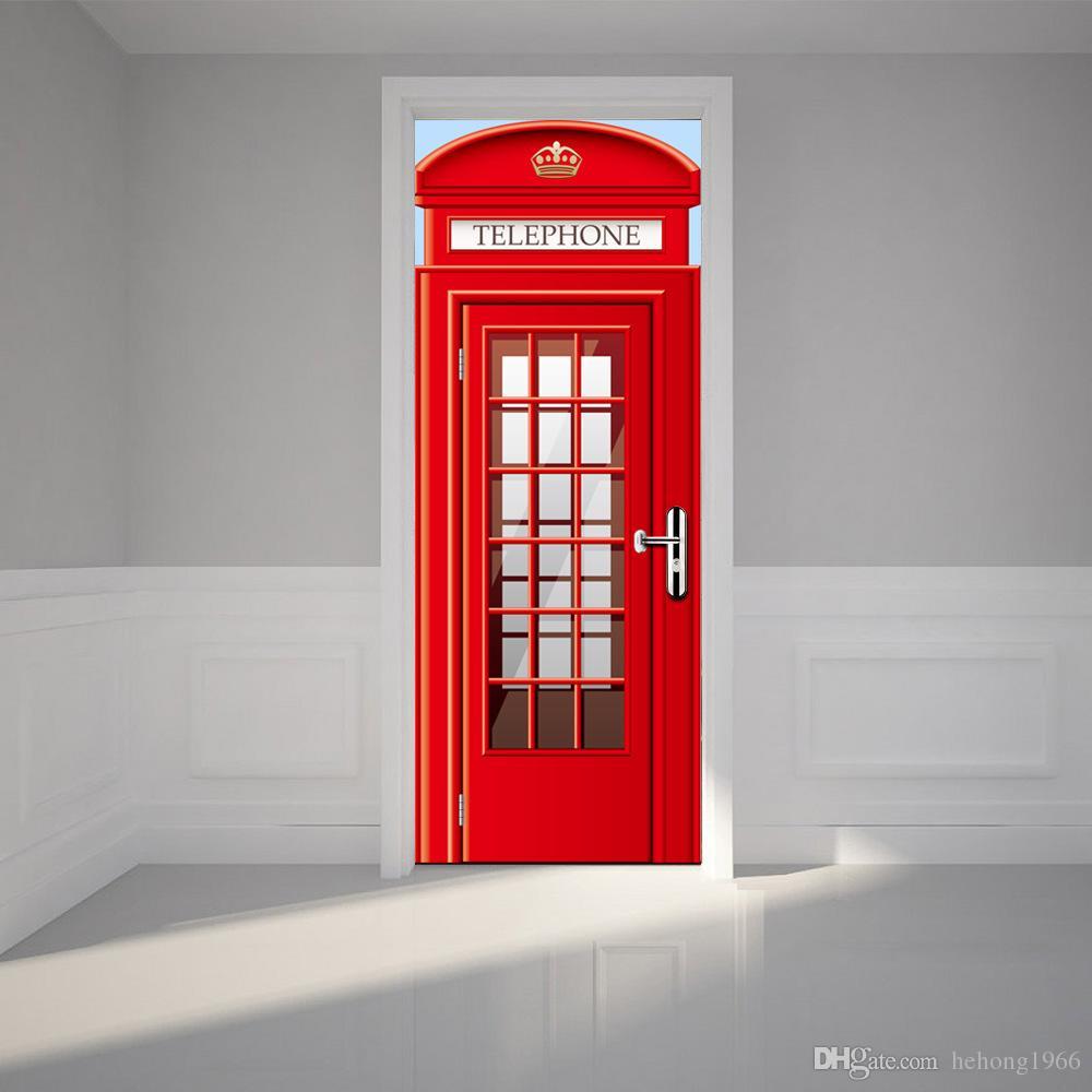 3D Duvar Çıkartmaları Taklit Duvar Boyama Oturma Odası Yatak Odası Ahşap Kapı Sticker Macun Ahşap Drawbridge Dekorasyon Yenilenmiş Su Geçirmez 45 ...