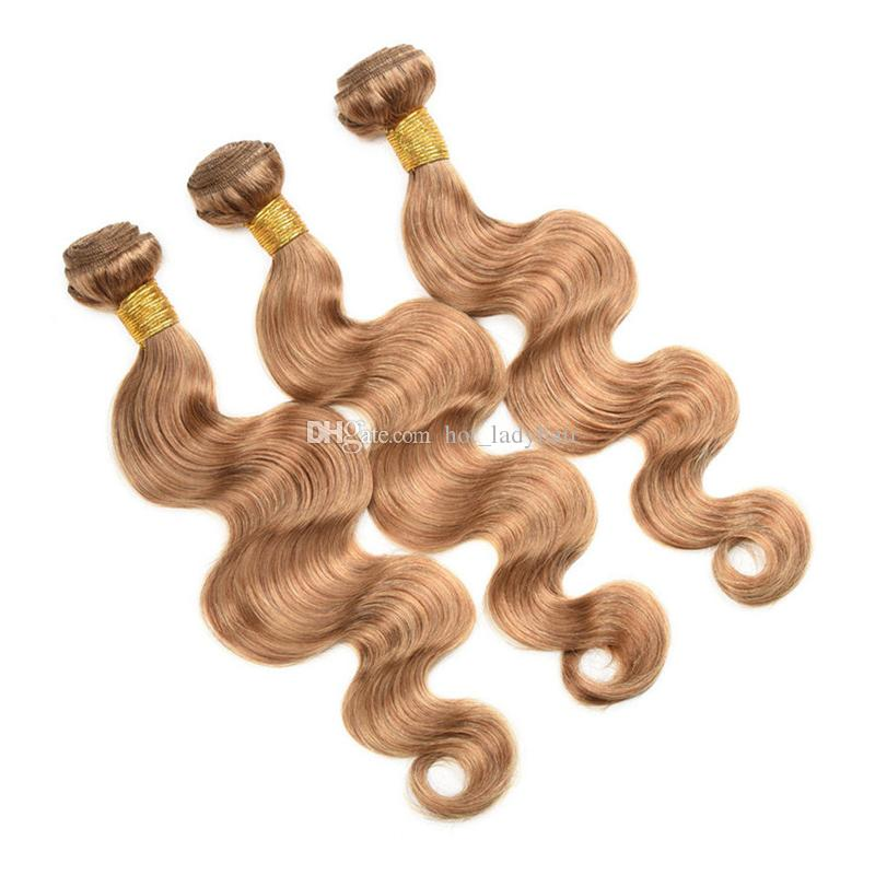 Brazilian Honey Blonde Virgin Hair Bundles With Lace Closure Color #27 Bleach Blonde Body Wave Human Hair Weaves With 4*4 Top Closure