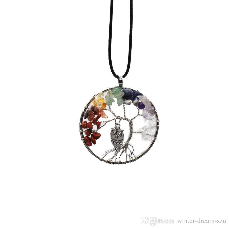 Árvore da Vida Coruja Pingente de Colar 7 Chakra Pedras Preciosas Chakra Sabedoria Pedra Natural Pêndulo Pingente Jóias Presentes Dia Das Mães B163S