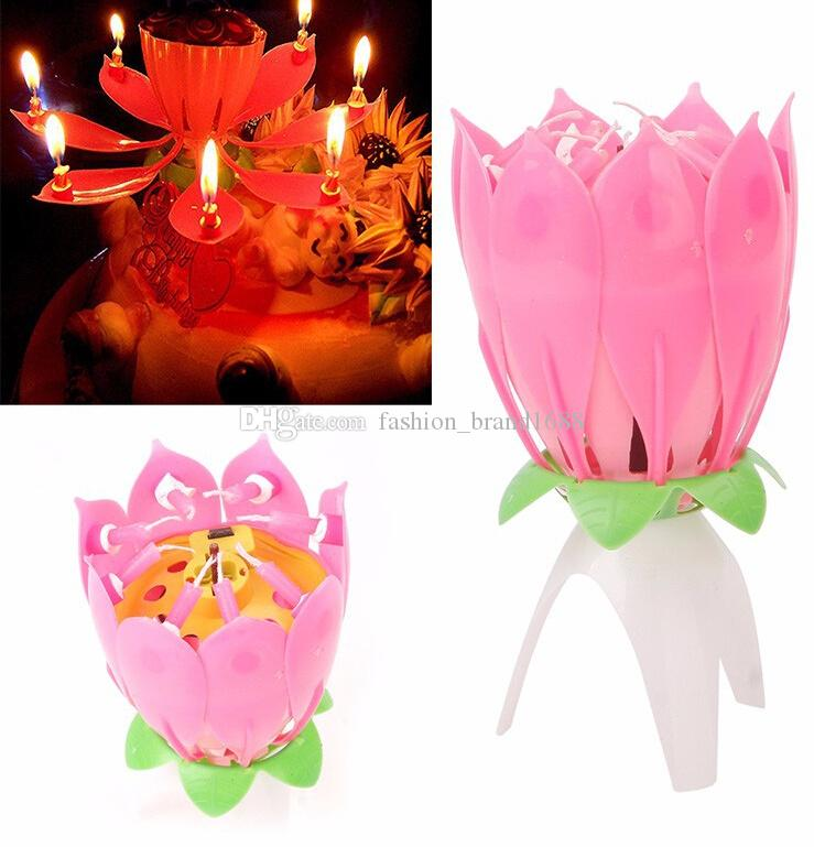Lotus flower music candle beautiful blossom lotus flower candle lotus flower music candle beautiful blossom lotus flower candle birthday party cake music sparkle cake topper rotating candle lotus candle creative candle mightylinksfo