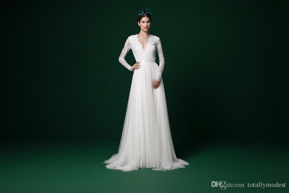 Long Sleeves Modest Bogo Wedding Dresses Long Sleeves V Neck Lace Top Tulle Skirt Informal Outdoor Beach Informal Bridal Gowns China