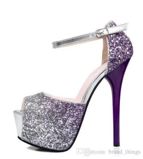 Новая весна 2017 Женщины насосы Европа стиль мода на высоком каблуке блестящие блестки насосы тонкий каблук свадебные туфли G9219-1