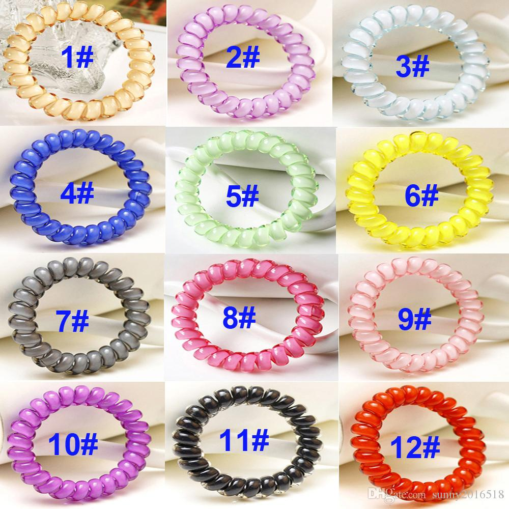 New Candy Color Telephone Cord Elastic Hair Bands Headbands For Women Hair Accessories Big Ring Rubber Bands Hair Ties Rope