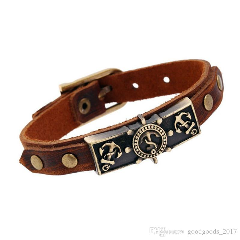 2017NEW 12 Anchor Anchor Style Retro Leather Bracelet Ornaments Bracelet Gift Porte in vera pelle Old Effects M0253