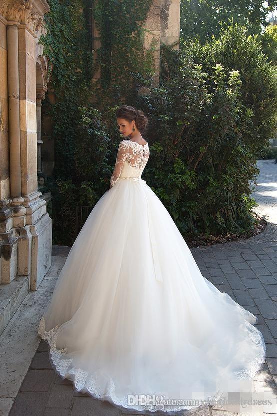 Ülke Vintage Dantel 2021 Gelinlik O Yaka Yarım Uzun Kollu İnciler Tül Prenses A-Line Ucuz Gelin Elbiseler Artı Boyutu