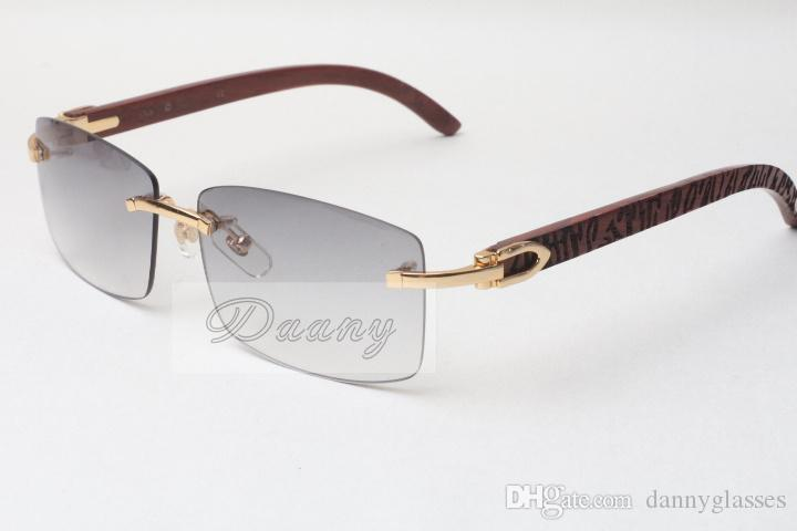 Óculos de sol sem moldura quente óculos unisex óculos de sol 3524012 Madeira de treliça Homens e mulheres óculos de sol óculos óculos, óculos de óculos, 56-18-135mm