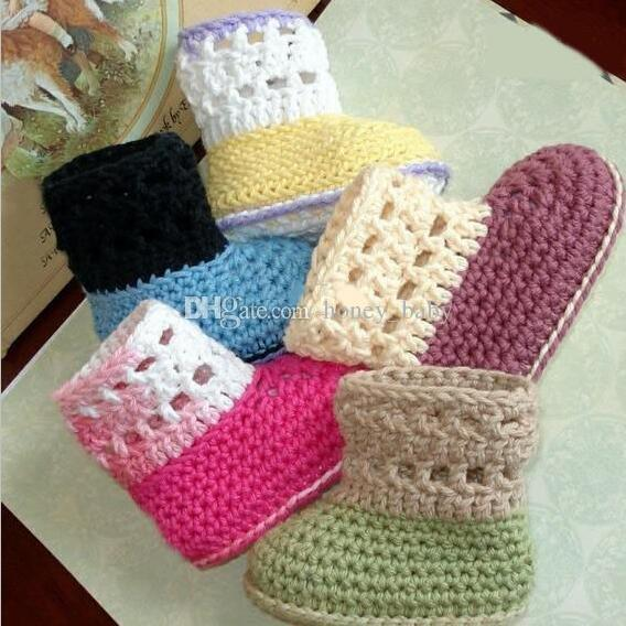 Baby Boys Girls Crochet Shoes Newborn Knitted Prewalker Shoe Infant Toddler Snow Boots Booties Assorted Colors Fretwork Design Cotton Yarn