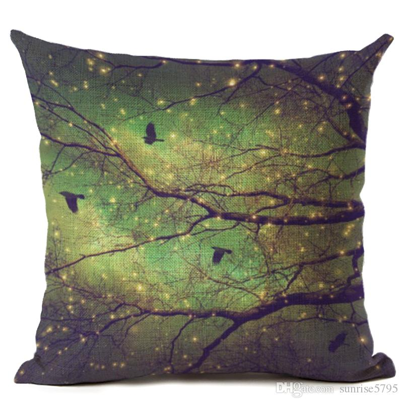 beautiful night scenic cushion cover bird tree branch throw pillow case for sofa chair modern home office almofada moon cojines