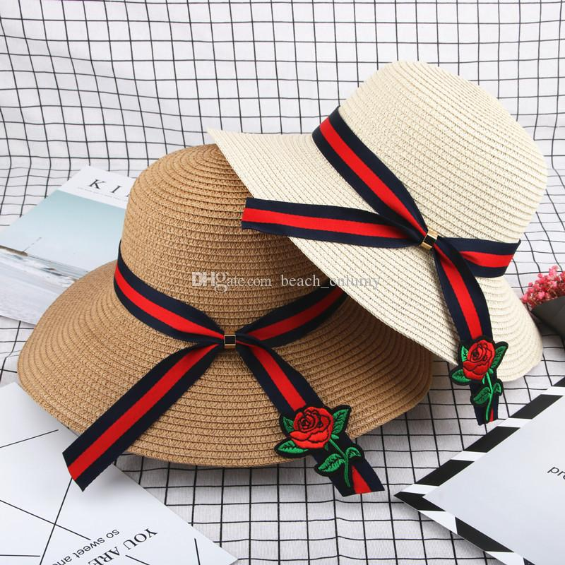 ff6143ac22432e Fashion Wide Brim Summer Beach Sun Hats for Women Lace-up Stripes ...