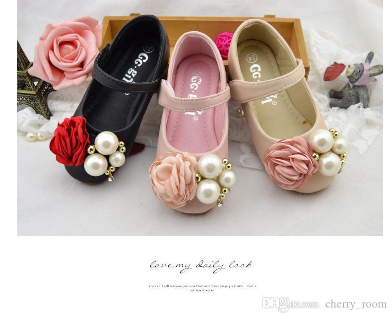 Flower Girls Princess Shoes New Autumn Floral Pearl Soft-soled Children Shoeses Korean Cute Kids Flat Shoes C1422