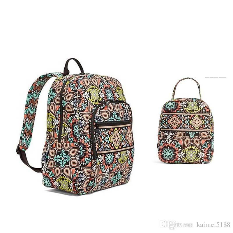 Cotton Flower School Bag Campus Laptop Backpack School Bag with lunch bag