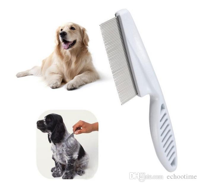 grande promozione !! 300pcs All'ingrosso-Hot Pet Dog Hair Flea Comb In acciaio inox Pin Dog Cat Grooming Brush Pettine Clean Tool