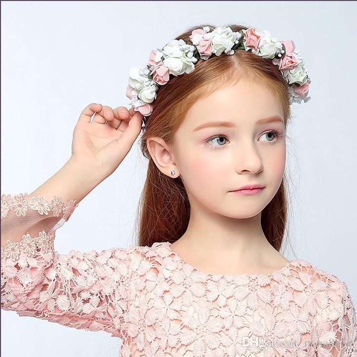 d522185e13a Wholesale Rose Headband Kids Hairband Bohemian Flower Crown Tiara ...