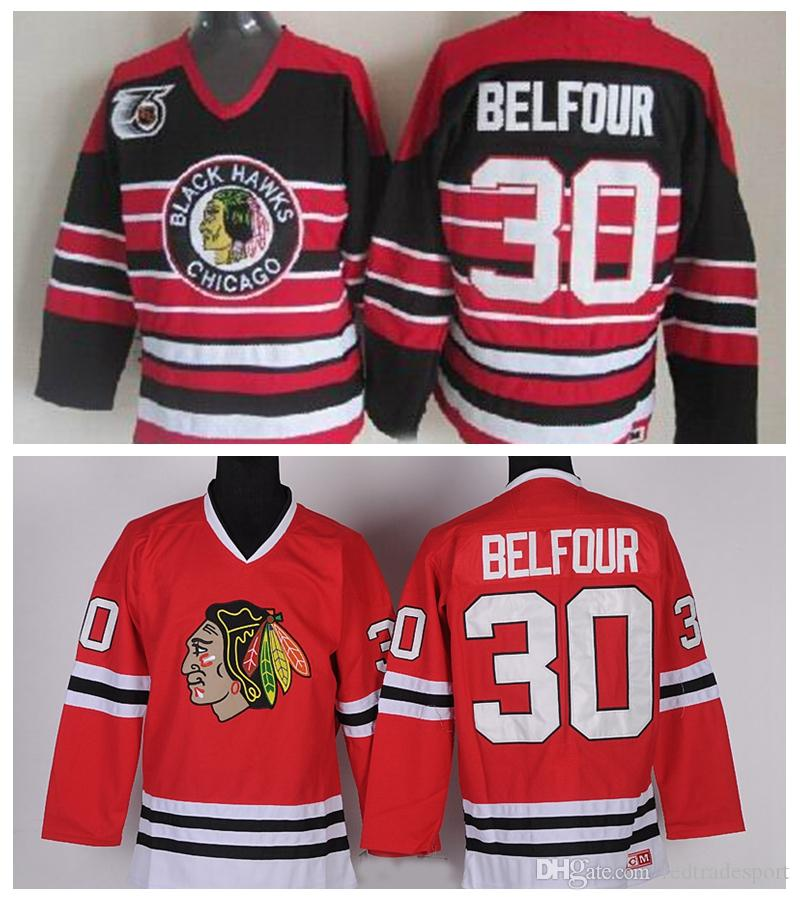 2019 Vintage Chicago Blackhawks Hockey Jerseys Mens 30 Ed Belfour Home Red  Vintage Ed Belfour 75th Anniversary Black Stitched Jersey S XXXL From ... 81ce7ea42