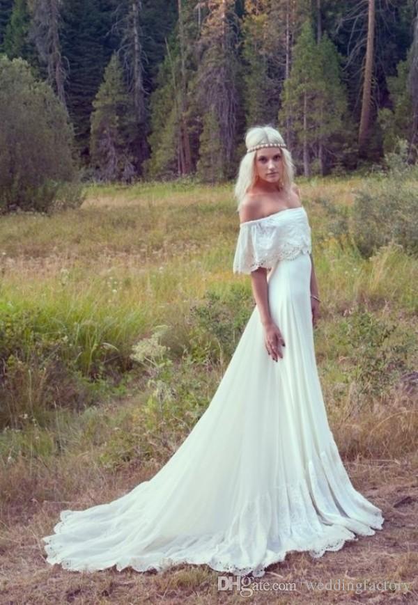 Land Böhmische Brautkleider Sexy Von der Schulter Frühling Sommer Spitze Applikationen Chiffon Boho Brautkleider Vestidos de Novia Hippie