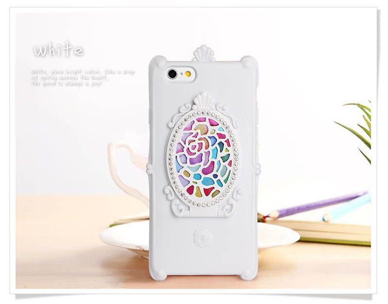 Frete grátis bonito dos desenhos animados strass phone case tampa do espelho mágico para iphone 6 6 s 6 plus 7 7 plus glitter phone case rosa case