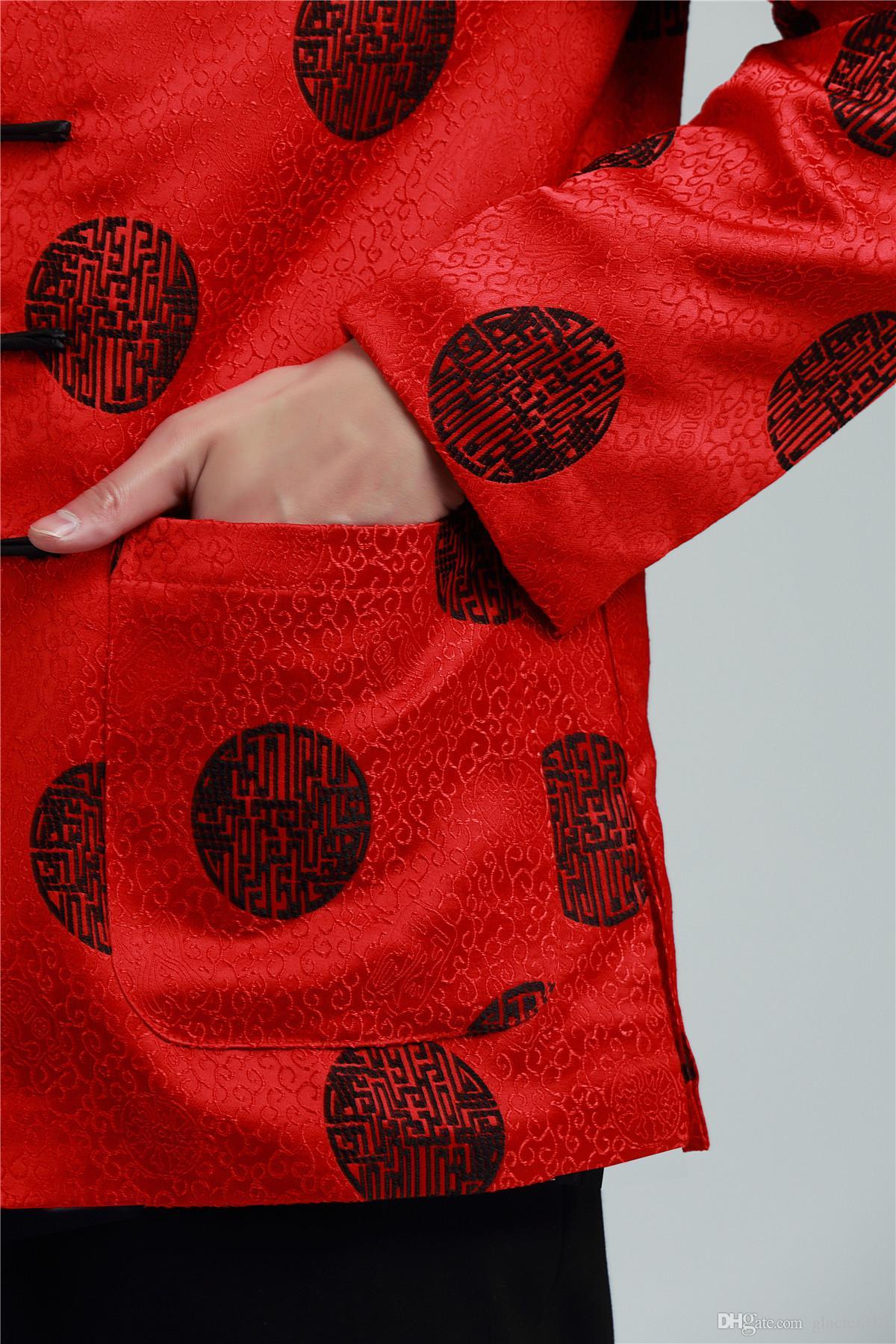 Shanghai Story manica lunga cinese tradizionale abbigliamento cinese pulsante giacca da uomo da uomo colletto alla coreana rosso giacca drago uomo