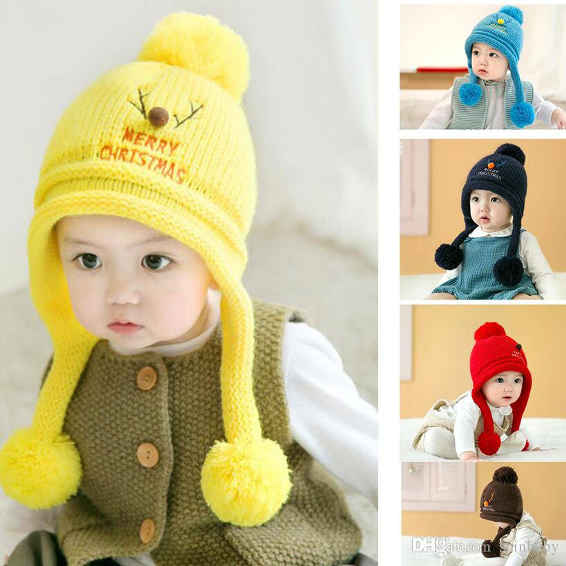 6e028827d 2019 2017Winter Warm Korean Version Cute Baby Hat Christmas Deer Newborn  Colorful Baby Winter Hats Hedging Caps From Spinbaby, $23.12 | DHgate.Com