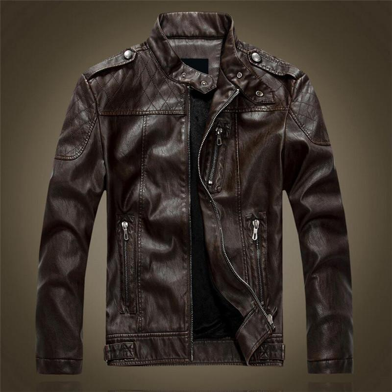 New Brand Motorcycle Leather Jackets Men Autumn Winter Fashion ...