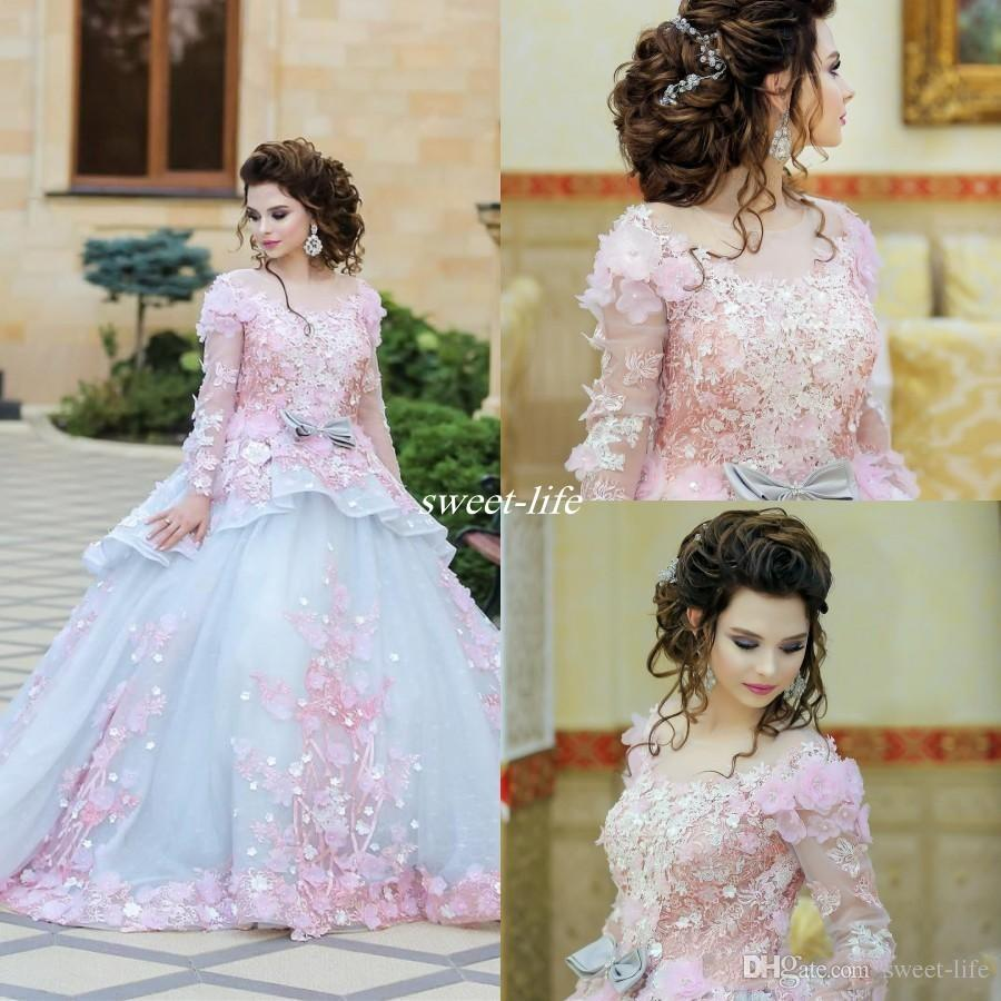 Beautiful Wedding Dresses Ball Gown 3D Flowers Applique Lace Plus Size Long  Sleeve Sheer Neck Court Train Formal Wedding Party Bridal Gowns Bridal  Wedding ... 8796475f9
