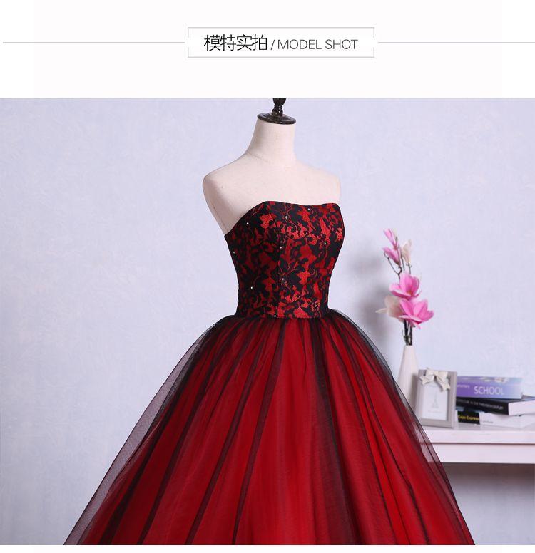 Vintage rosso nero gotico abiti da sposa tesoro pizzo tulle corsetto 1950s colorato abiti da sposa non bianchi abito da sposa abito da sposa abito de mariee